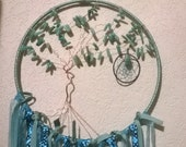 Amazonite Large Tree of Life Dream Catcher,Birthstone dreamcatcher, handmade in Aqua and Teal,blue ribbons,peacock feathers