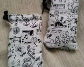 Coloring Pouch,  Drawstring Doodle Bag, LAST ONE, Slightly Padded Pouch