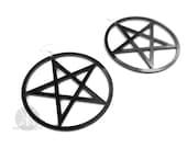 Giant Pentacle Earrings / Hoop Earrings / Pentagram Earrings / Acrylic Jewelry / Oversized Hoop Earrings / Witch / Goth / Wicca / Kadabra