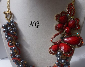 Steel and Cranberry Butterfly Necklace Set