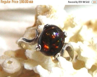 ON SALE AAA Fire Agate Ring 10x8mm 3 ct. 925 Solid Sterling Silver Size 7