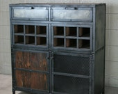 Liquor Cabinet, bar cart with wine storage. Industrial style. Reclaimed wood. Modern, urban. Handmade and customizable.