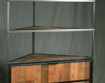 rustic industrial corner hutch reclaimed wood and steel laundry unit storage cabinet curio