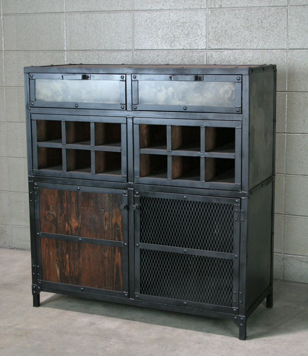 Industrial Liquor Cabinet Bar Cart With Wine Storage