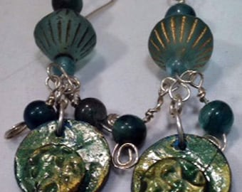 Earrings of Apatite, Vintage Bicones, and Fimo Clay With Sterling Silver