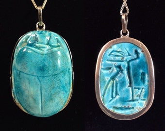 Vintage Sterling Silver Encased Ceramic Blue Scarab Beetle Pendant Egyptian Necklace