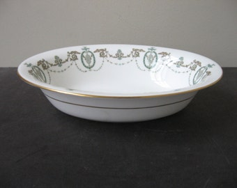 "vtg MINTON ""ADAM"" GREEN Wreath Swags & Scrolls Oval Vegetable Dish Bowl Bone China"