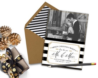 Holiday Christmas Photo Card - NEW MR. & MRS. Printable Newlyweds, Just Married