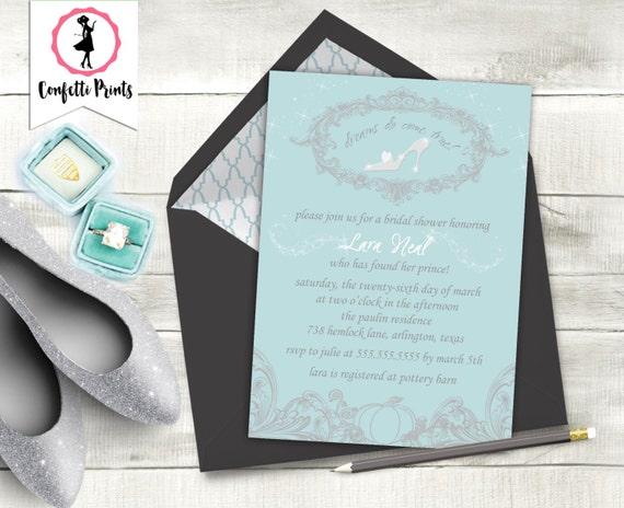 CINDERELLA Princess Bridal Shower Invitation | Princess Bridal Shower Invite | Disney Wedding | Fairy Tale Wedding | Printable