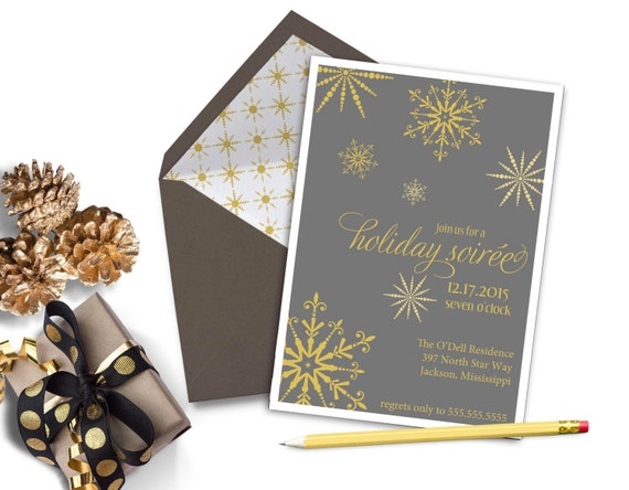 Holiday Christmas Party Invitation - SNOWFLAKE SOIREE Printable