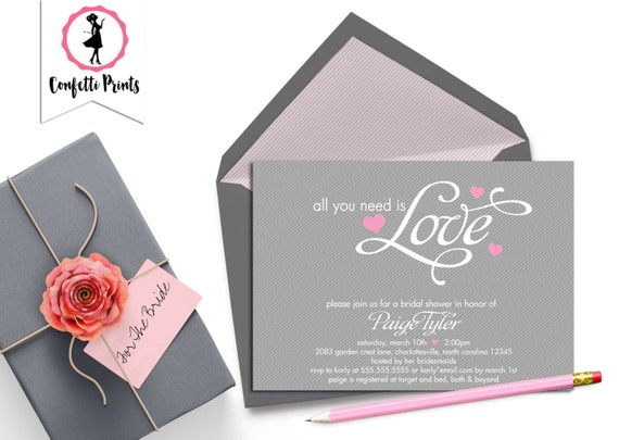 Bridal Shower Invitation | Couples Shower Invitation | Engagement Party | Anniversary Party Invitation - ALL You NEED Is LOVE Printable