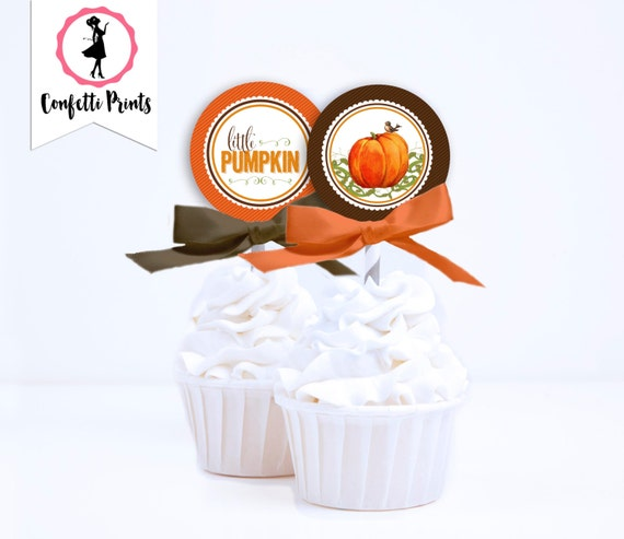 LITTLE PUMPKIN Baby Shower Cupcake Toppers | Fall Baby Shower | Pumpkin Birthday Party | Lil Pumpkin | Little Pumpkin Party | Printable