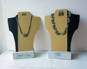 ON SALE SALE Pair Book Necklace Bust  - Yellow - Gold - Black - Fall Jewelry Display - Book Covers - Craft Show Display - Ready to Ship