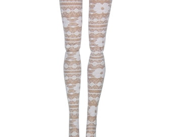 """17"""" Monster High Doll Stockings - White Dutch Lace - Doll Clothes"""