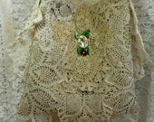 Boho bag, gypsy, doilies, lace, handbag, purse, tote, cross chest, ecru, ecs, cameo