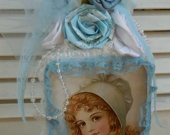 Altered Bottle - Blue Victorian Young Lady - Gorgeous