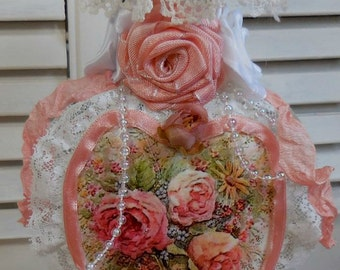 Altered Bottle - Gorgeous true to Life looking roses - Peaches and white - Hm roses lace - Victorian little Doily - Out of this World