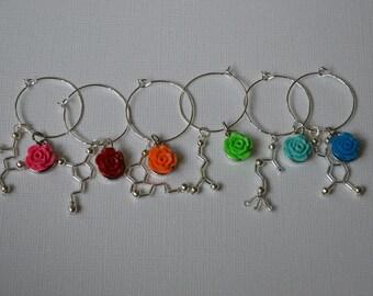 Biolojewelry - Set of 6 Neurotransmittter Rainbow Rose Wine Glass Charms