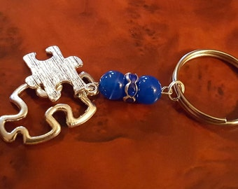 Keychain Silver with Dangling Blue Beads and Autism Awareness Puzzle Charms