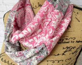 Boho Clothing - Infinity Scarf - Pink Scarf - Circle Scarf - Cotton Knit Scarf - Upcycled Clothing - Recycled T Shirts - Womens Scarf-