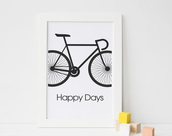 Monochrome Bicycle Print, Gift for cyclist, Graphic Bike Print, Wall Art