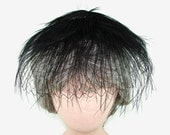 Skol Nips Black Feather Hat on Netting, Black Fascinator,  Stage Costume, OOAK Plume Headpiece, Mourning Hat, Funeral Hat