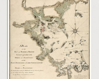 Old Boston Harbor Map Art Print 1775 Antique Map Archival Reproduction