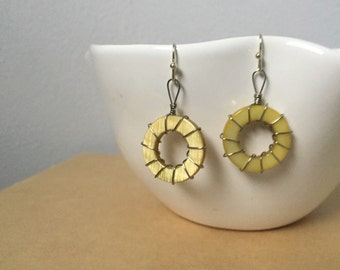 Yellow Wire Wrapped Circle Shell Earrings