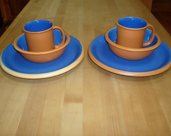 Service For Two Crown Corning Sonora Blue And Terra Cotto Dinner Ware Set