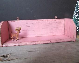 Vintage Pink Painted Shelf