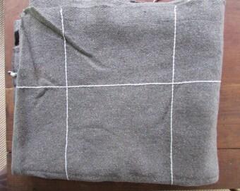 Large Gray Blanket Vintage Wool Picnic Blanket