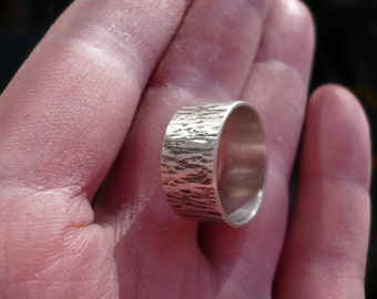 Solid Silver Ring, Hammered Bark Texture, Wide Band (sterling silver)