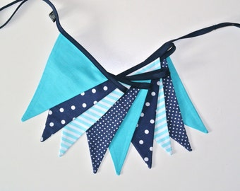 Fabric garland BY METERS, banners, bunting in turquoise and navy blue, guirlande de fanions