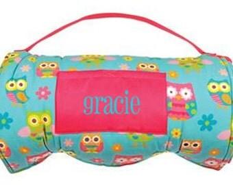 Monogram Nap Mat- Girl's Pre-School Nap Mat- Daycare Nap Mat- Stephen Joseph - OWL Nap Mat