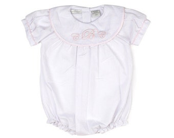 Classic Monogram Girls Bubble, Girls Bubble, White Bubble, Dedication Bubble