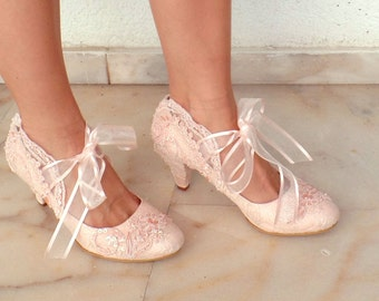 """Wedding Shoes - Bridal Shoes Embroidered Blush Lace with Pearls and Ribbons, 3""""Heels"""