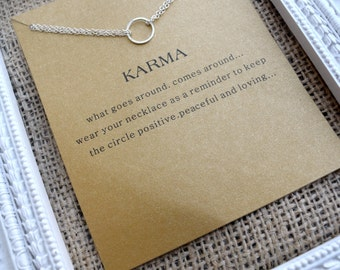 Karma necklace gold plated & silver plated, simple necklace,karma charm, karma quote, karma simply necklace, circle pendant,circle charm