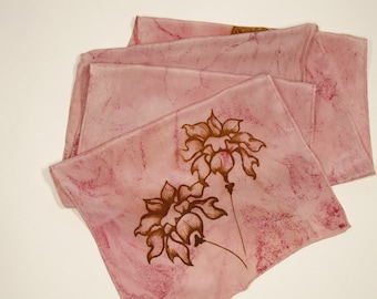 Crepe de Chine pink Flowers & Butterfly