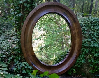 Solid Walnut Oval Mirror, Oval Mirror, Wood Framed Oval Mirror