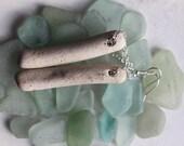 beach pottery earrings sea glass china earings beach jewelry statement jewellery sterling silver