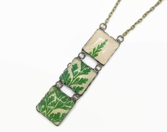 unique gift idea for women, leaf necklace, real leaf pendant, nature jewelry, statement necklace, cool gift, green necklace, fern necklace