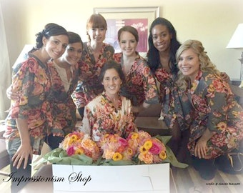 Bridesmaids Robes, Kimono Crossover Robes, Spa Wraps, Bridesmaids gift, getting ready robes, Bridal shower party favors, Floral