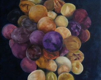 Time Lapse. Print of oil painting Living room decor Contemporary art Grape Fruit Gold Blue Purple Yellow Green