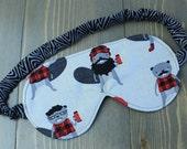 Woman's Travel Accessory, Sleep Mask, Eye Mask, Blindfold, Handmade in Canada, Gift for Her, Black, Cotton, Spa Mask, Beaver, Lumberjack