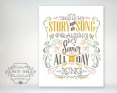 8x10 art print - Blessed Assurance - This is My Story, This is My Song. Mustard, pink, brown, blue, green typography Christian Hymn Poster