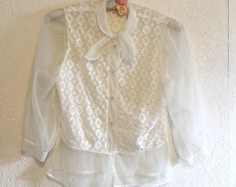 Darling Vintage Sheer White Lace Blouse with Tie Neck