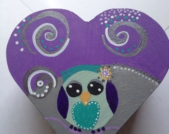 Under the stars Owl Heart box  Jewelry box Babies room Folk Art home decor