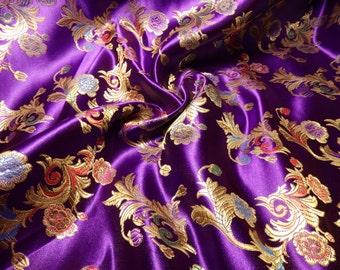 Chinese satin brocade in royal PURPLE - ONE yard of purple satin brocade fabric, purple brocade, floral brocade by the yard - 1 yd.