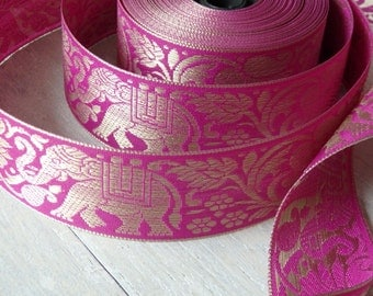 TWO yards of elephant & lotus flower Indian sari border in FUCHSIA and gold, 40mm elephant ribbon, sari trim - Other colours available!
