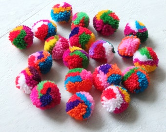 Hmong hill tribe pom poms - 25 pcs. standard size multicolored pompoms for accessories, ethnic Thai pompoms, Boho craft supplies - 25 pcs.